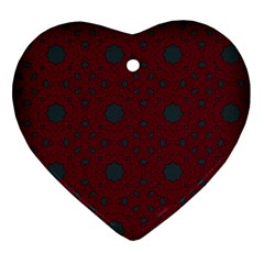 Blue Hot Pink Pattern With Woody Circles Ornament (heart) by Nexatart