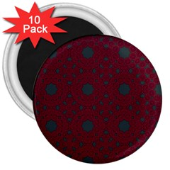 Blue Hot Pink Pattern With Woody Circles 3  Magnets (10 Pack)