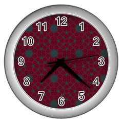 Blue Hot Pink Pattern With Woody Circles Wall Clocks (silver)