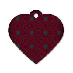 Blue Hot Pink Pattern With Woody Circles Dog Tag Heart (one Side)