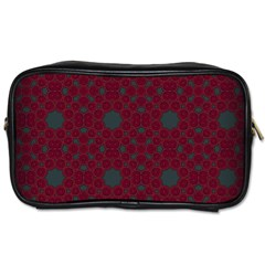Blue Hot Pink Pattern With Woody Circles Toiletries Bags 2 Side by Nexatart