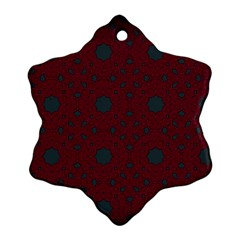 Blue Hot Pink Pattern With Woody Circles Snowflake Ornament (two Sides)