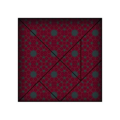 Blue Hot Pink Pattern With Woody Circles Acrylic Tangram Puzzle (4  X 4 ) by Nexatart