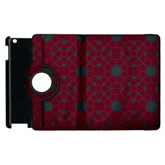 Blue Hot Pink Pattern With Woody Circles Apple Ipad 2 Flip 360 Case by Nexatart