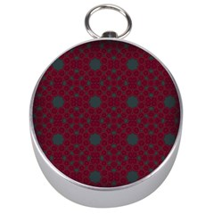Blue Hot Pink Pattern With Woody Circles Silver Compasses by Nexatart