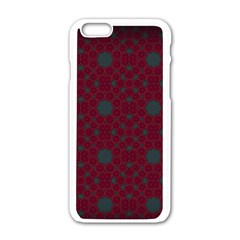 Blue Hot Pink Pattern With Woody Circles Apple Iphone 6/6s White Enamel Case by Nexatart