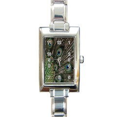 Close Up Of Peacock Feathers Rectangle Italian Charm Watch