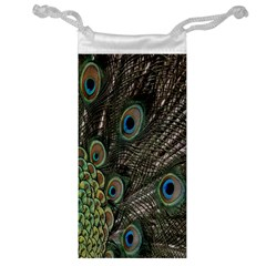 Close Up Of Peacock Feathers Jewelry Bag