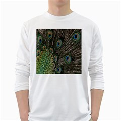 Close Up Of Peacock Feathers White Long Sleeve T Shirts