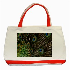 Close Up Of Peacock Feathers Classic Tote Bag (red) by Nexatart