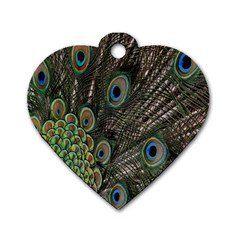 Close Up Of Peacock Feathers Dog Tag Heart (two Sides)