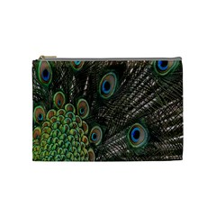 Close Up Of Peacock Feathers Cosmetic Bag (medium)  by Nexatart
