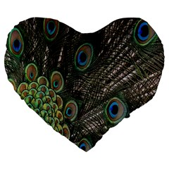 Close Up Of Peacock Feathers Large 19  Premium Heart Shape Cushions by Nexatart