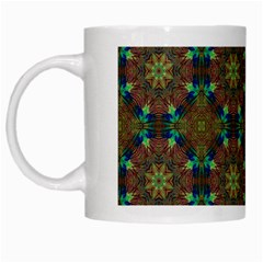 Seamless Abstract Peacock Feathers Abstract Pattern White Mugs by Nexatart