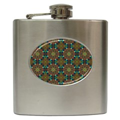 Seamless Abstract Peacock Feathers Abstract Pattern Hip Flask (6 Oz)