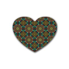 Seamless Abstract Peacock Feathers Abstract Pattern Heart Coaster (4 Pack)