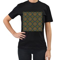 Seamless Abstract Peacock Feathers Abstract Pattern Women s T Shirt (black)