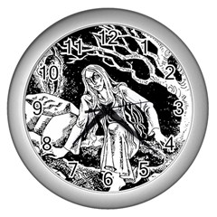 Vampire  Wall Clocks (silver)  by Valentinaart