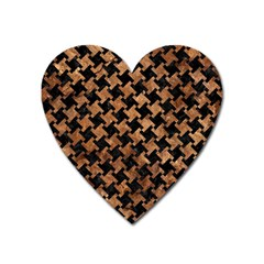 Houndstooth2 Black Marble & Brown Stone Magnet (heart) by trendistuff