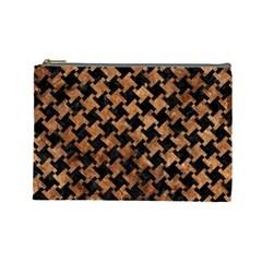 Houndstooth2 Black Marble & Brown Stone Cosmetic Bag (large) by trendistuff