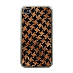 Houndstooth2 Black Marble & Brown Stone Apple Iphone 4 Case (clear) by trendistuff