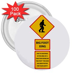 Bigfoot 3  Buttons (100 Pack)  by Valentinaart