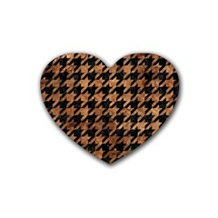 Houndstooth1 Black Marble & Brown Stone Rubber Heart Coaster (4 Pack) by trendistuff