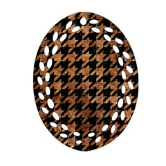 Houndstooth1 Black Marble & Brown Stone Oval Filigree Ornament (two Sides) by trendistuff