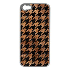 Houndstooth1 Black Marble & Brown Stone Apple Iphone 5 Case (silver) by trendistuff