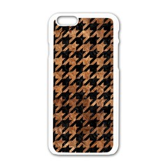 Houndstooth1 Black Marble & Brown Stone Apple Iphone 6/6s White Enamel Case by trendistuff