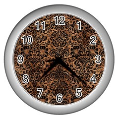 Damask2 Black Marble & Brown Stone (r) Wall Clock (silver) by trendistuff