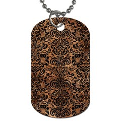 Damask2 Black Marble & Brown Stone (r) Dog Tag (one Side) by trendistuff