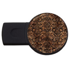 Damask2 Black Marble & Brown Stone (r) Usb Flash Drive Round (2 Gb) by trendistuff