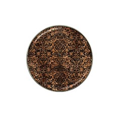 Damask2 Black Marble & Brown Stone (r) Hat Clip Ball Marker by trendistuff