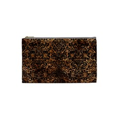 Damask2 Black Marble & Brown Stone (r) Cosmetic Bag (small) by trendistuff