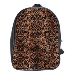 Damask2 Black Marble & Brown Stone (r) School Bag (large) by trendistuff
