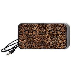 Damask2 Black Marble & Brown Stone (r) Portable Speaker (black) by trendistuff
