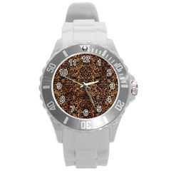 Damask2 Black Marble & Brown Stone (r) Round Plastic Sport Watch (l) by trendistuff