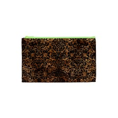 Damask2 Black Marble & Brown Stone (r) Cosmetic Bag (xs) by trendistuff