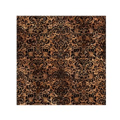 Damask2 Black Marble & Brown Stone (r) Small Satin Scarf (square) by trendistuff