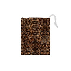 Damask2 Black Marble & Brown Stone (r) Drawstring Pouch (xs) by trendistuff