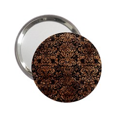 Damask2 Black Marble & Brown Stone 2 25  Handbag Mirror by trendistuff
