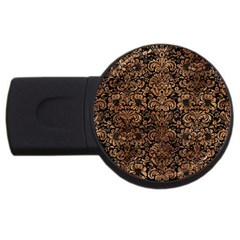 Damask2 Black Marble & Brown Stone Usb Flash Drive Round (2 Gb) by trendistuff
