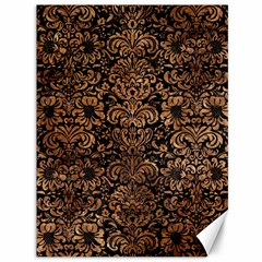 Damask2 Black Marble & Brown Stone Canvas 36  X 48  by trendistuff