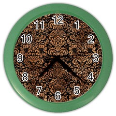 Damask2 Black Marble & Brown Stone Color Wall Clock by trendistuff