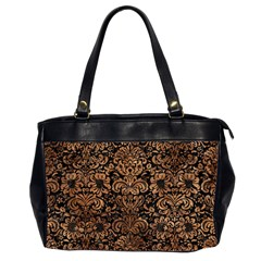 Damask2 Black Marble & Brown Stone Oversize Office Handbag (2 Sides) by trendistuff