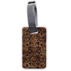 Damask2 Black Marble & Brown Stone Luggage Tag (one Side) by trendistuff
