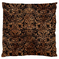 Damask2 Black Marble & Brown Stone Large Flano Cushion Case (two Sides) by trendistuff