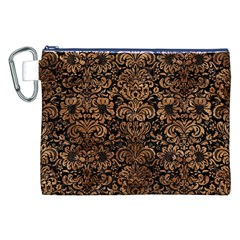 Damask2 Black Marble & Brown Stone Canvas Cosmetic Bag (xxl) by trendistuff