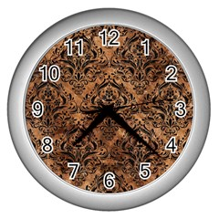 Damask1 Black Marble & Brown Stone (r) Wall Clock (silver) by trendistuff